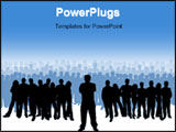 PowerPoint Template - large group of people with one person at the front as if leading