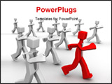 PowerPoint Template - Red leader leading group of businessman 3d illustration