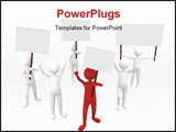 PowerPoint Template - Big protestation with leader in front 3D render