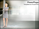 PowerPoint Template - Corporate woman standing strongly with arms crossed.