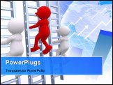 PowerPoint Template - 3d people - human character person climbing a ladder. 3d render