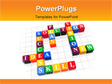 PowerPoint Template - 3d color boxes like crossword - solution success; plan; idea; vision; new; skill