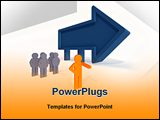 PowerPoint Template - A 3D rendered illustration of a leader of a group pointing the way forward