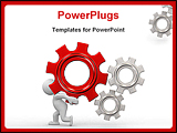 PowerPoint Template - 3d human try to turn the gears