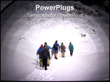 PowerPoint Template - guide leading a group of trekkers on franz josef glacier, nz.