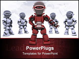 PowerPoint Template - 3D render of a red robot leading a team