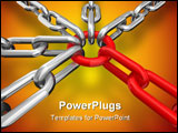 PowerPoint Template - 3d illustration of a group of red and silver chain - conceptual image