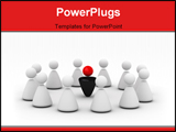 PowerPoint Template - Twelve white figures around of one color figure symbolize - LEADERSHIP