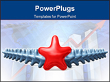PowerPoint Template - 3d rendered red leader star with little blue stars