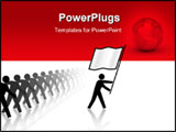 PowerPoint Template - A leader flag carrier marches forward toward victory progess as a rank of followers marches behind.