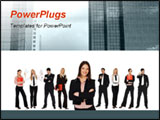 PowerPoint Template - Confident businesswoman posing and eight blurred businesspeople in background