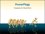 PowerPoint Template - Golden stick figures running