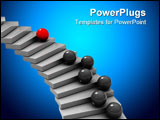 PowerPoint Template - abstract 3d illustration of staircase and balls competition metaphor