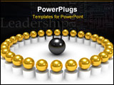 PowerPoint Template - The 3D gold spheres conceptual command Teamwork