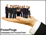 PowerPoint Template - A business hand holds a team of workers in his hand.