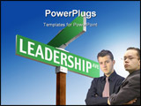 PowerPoint Template - A blank green street sign reading Leadership