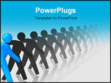 PowerPoint Template - Blue Man Standing Out In A Line Of Black Men