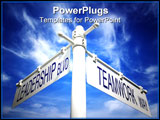 PowerPoint Template - street post with leadership blvd and teamwork way signs
