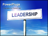 PowerPoint Template - White metal signpost with Leadership word over blue sky