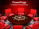 PowerPoint Template - leadership table. contract letter comfortably arm-chair. 3d