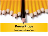 PowerPoint Template - Low angle shot of Uneven row of yellow pencils with one black pencil in middle standing out farther than the rest. Focus is on the tip of the black pencil. On white with drop shadow