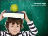 PowerPoint Template - Little boy at school with apple and book.