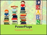 PowerPoint Template - A vector concept illustration of children improving by reading
