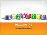 PowerPoint Template - Illustration of colorful learning blocks in a row