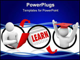 PowerPoint Template - A diagram of a person using a laptop for online education and ending up with an advanced degree