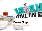 PowerPoint Template - A web browser window shows the words Learn Online and a picture of a person with graduation cap