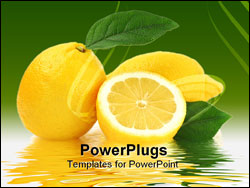 PowerPoint Template - Lemon and reflection studio isolated on white background