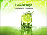 PowerPoint Template - Glass of cold clear splashing water with falling lemon