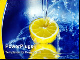 PowerPoint Template - View of lemon splashing in blue cold water