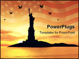PowerPoint Template - Liberty Statue Silhouette over sunset 3d illustration montage