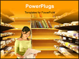 PowerPoint Template - Library interior - Colorful assortment of books ** Note: Slight blurriness, best at smaller sizes