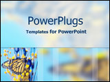 PowerPoint Template - Golden butterfly on blue