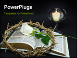 PowerPoint Template - Crown of thorns and a white rose on an open Holy Bible.
