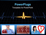 PowerPoint Template - Illustration of a heart machine display over a grid