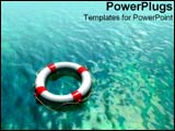 PowerPoint Template - Digitally enhanced lifesaver over blue water.