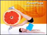 PowerPoint Template - concept image about healthy lifestyle - woman with fresh citrus fruit of grapefruit