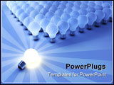 PowerPoint Template - Outstanding bright bulb near other blue bulbs - 3d render