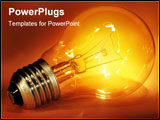 PowerPoint Template - Close-up of a glowing light bulb. Symbol of idea.