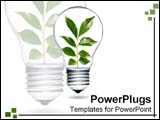 PowerPoint Template - Clear light bulb with leaves growing and flourishing inside.