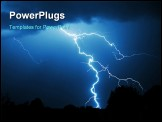 PowerPoint Template - powerful lightning strike in the darkness during thunderstorm