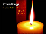 PowerPoint Template - Red Holy Bible Lighted by a Glowing Gold Candle