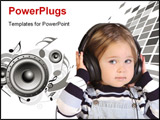 PowerPoint Template - beauty a little girl listening music on white background