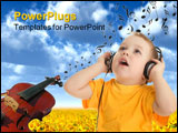 PowerPoint Template - Little boy listening to music. Isolated on white.
