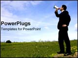PowerPoint Template - A business man with megaphone shouts over an open field.