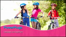 PowerPoint Template - Portrait of three little children with their bikes
