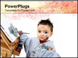 PowerPoint Template - Little boy with paintbrush and painting.